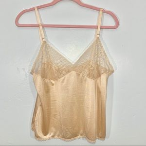 Vintage | Beige Shimmery Lace Lingerie Top
